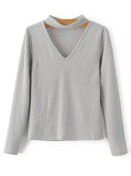 Rib Knit Choker Jumper - GRAY