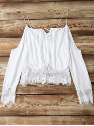 Alluring Long Sleeve Combined Lace Women's White Crop Top -