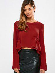 Frilly Peplum Long Sleeve Crop Top