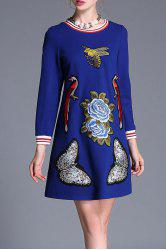 Long Sleeve A Line Embroidered Dress -