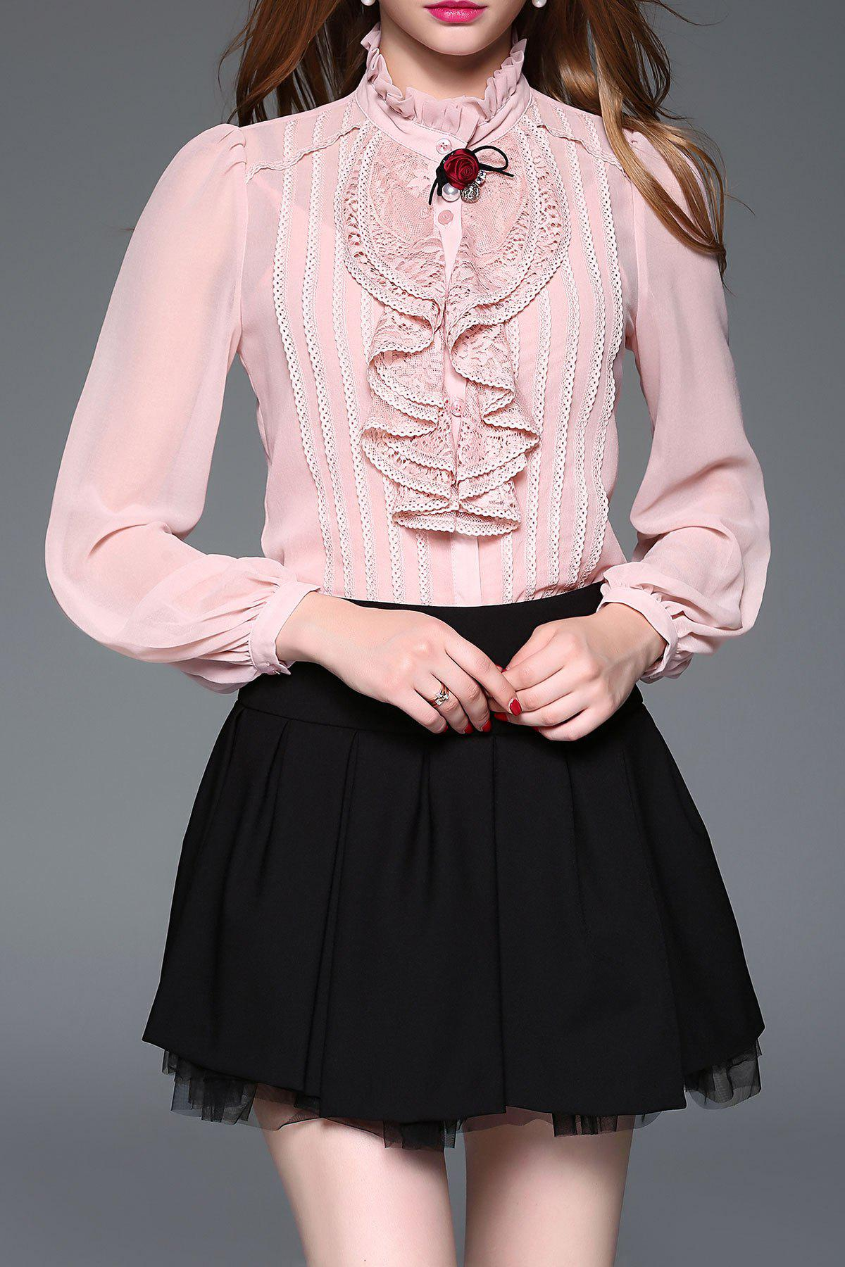 Buy Lace Panel Ruffle Steampunk Blouse with Cami Top