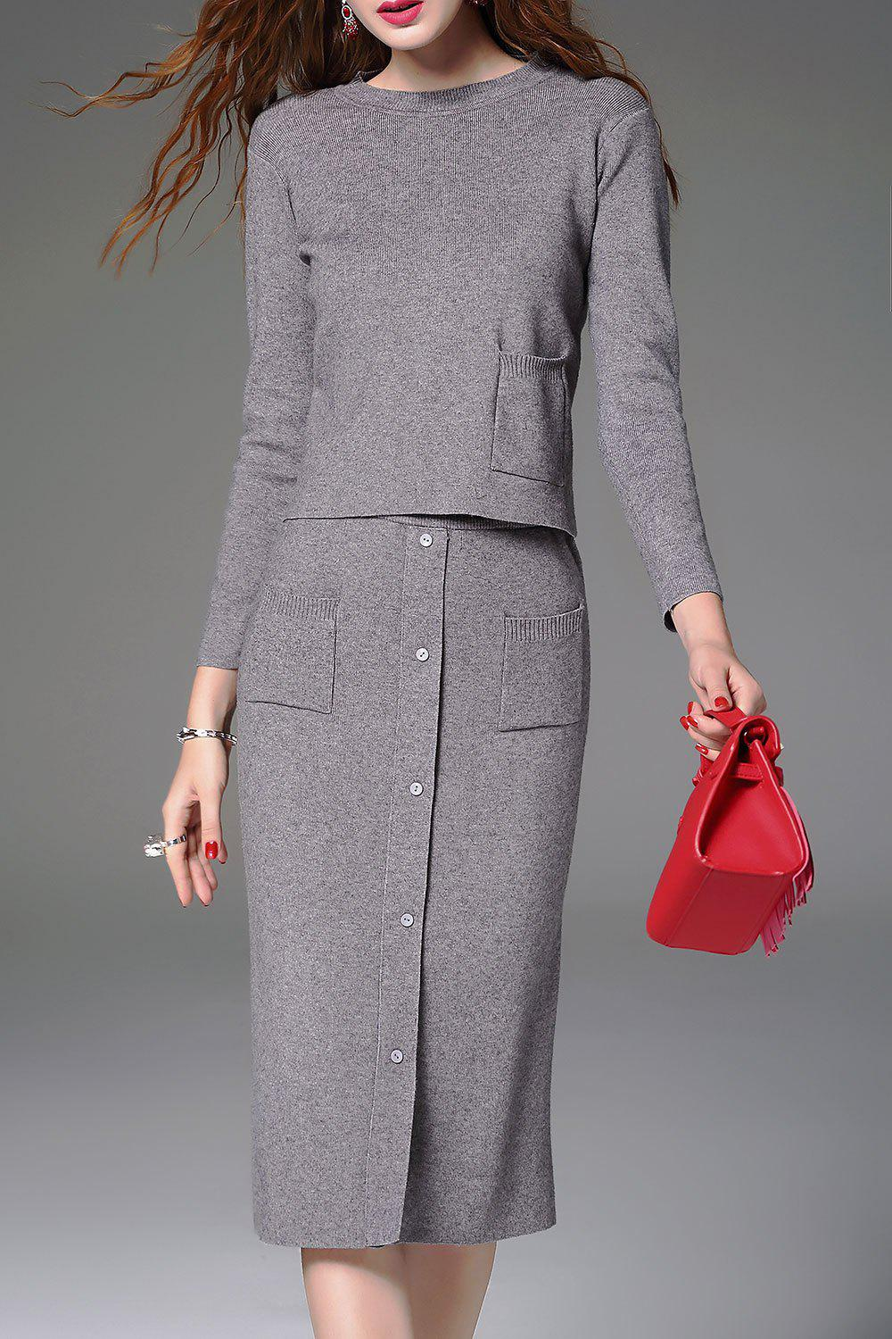 Knitted Sweater and Button Front Midi SkirtWOMEN<br><br>Size: S; Color: GRAY; Style: Two Piece; Occasion: Casual ,Work; Material: Cotton,Polyester; Composition: 65% Cotton,35% Polyester; Dresses Length: Mid-Calf; Neckline: Round Collar; Sleeve Length: Long Sleeves; Embellishment: Pockets; Pattern Type: Solid; With Belt: No; Season: Fall,Winter; Weight: 0.6200kg; Package Contents: 1 x Sweater  1 x Skirt;