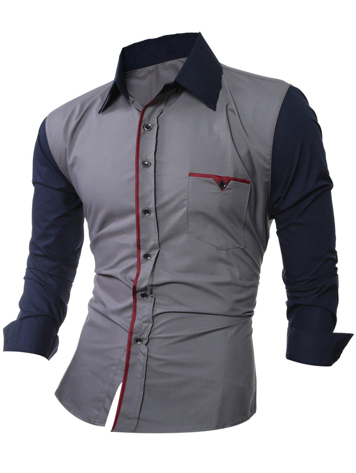 Latest Color Splicing Shirt Collar Long Sleeve Shirt