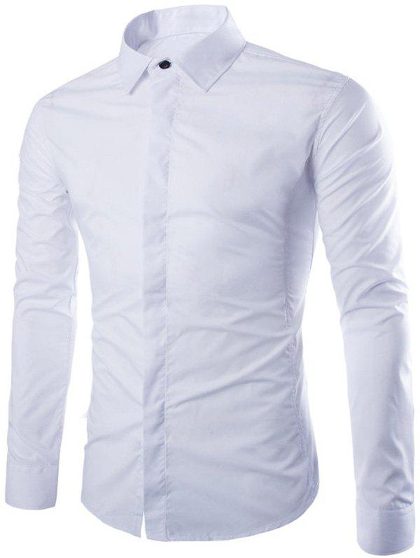 Buy Shirt Collar Long Sleeve Fly Front Shirt