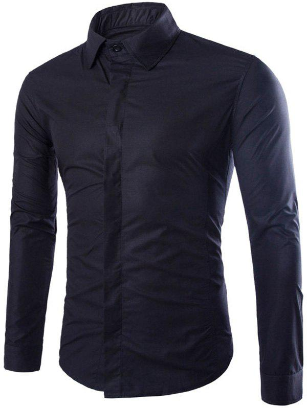 Store Shirt Collar Long Sleeve Fly Front Shirt