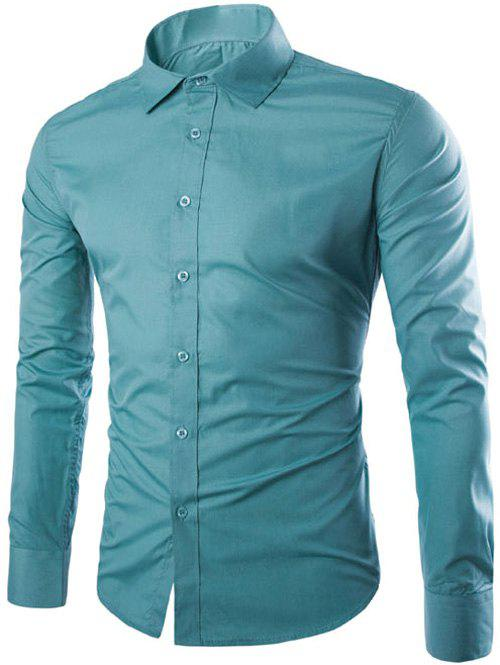 Online Single Breasted Shirt Collar Long Sleeve Shirt