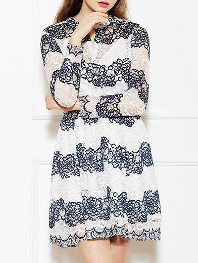 Fashion Floral Jacquard Openwork Lace Swing Dress