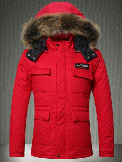 Furry Hood Applique Pockets Zip-Up Padded CoatMEN<br><br>Size: M; Color: RED; Clothes Type: Padded; Style: Active,Fashion; Material: Cotton,Down,Faux Fur,Polyester; Collar: Hooded; Shirt Length: Long; Sleeve Length: Long Sleeves; Season: Winter; Weight: 1.193kg; Package Contents: 1 x Coat;