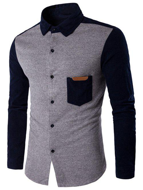 New Color Block Spliced Long Sleeve Pocket Shirt
