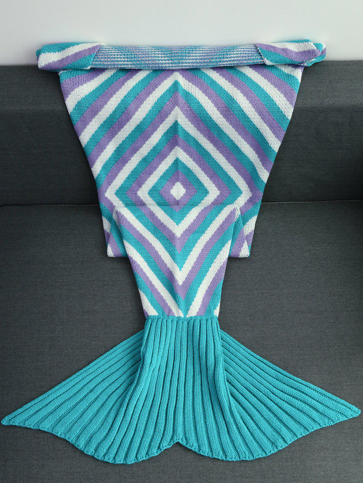 2018 High Quality Geometry Pattern Crochet Knitted Mermaid Tail