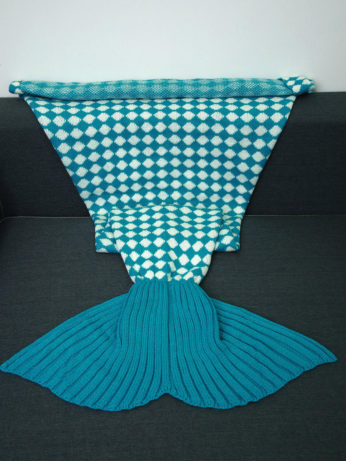 Fashion Warmth Inclined Plaid Pattern Knitted Mermaid Tail Blanket