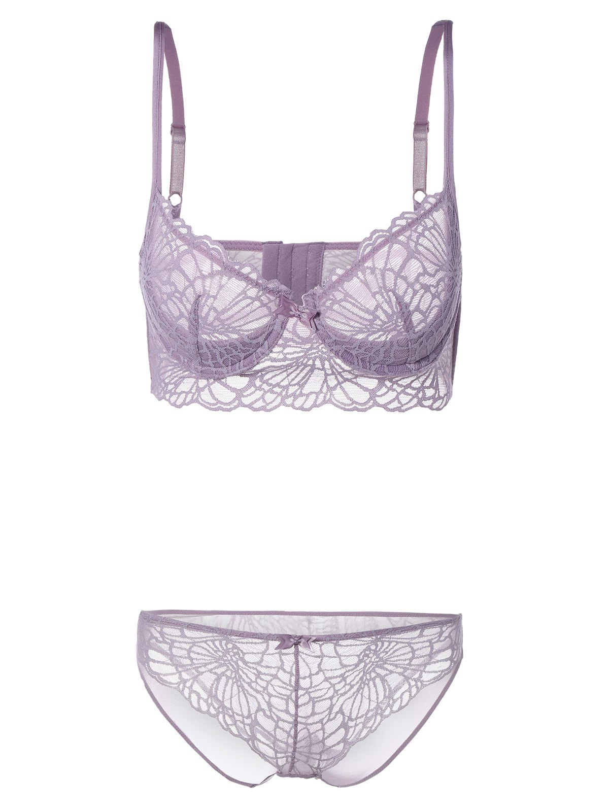 Latest See-Through Push Up Bra Set with Lace