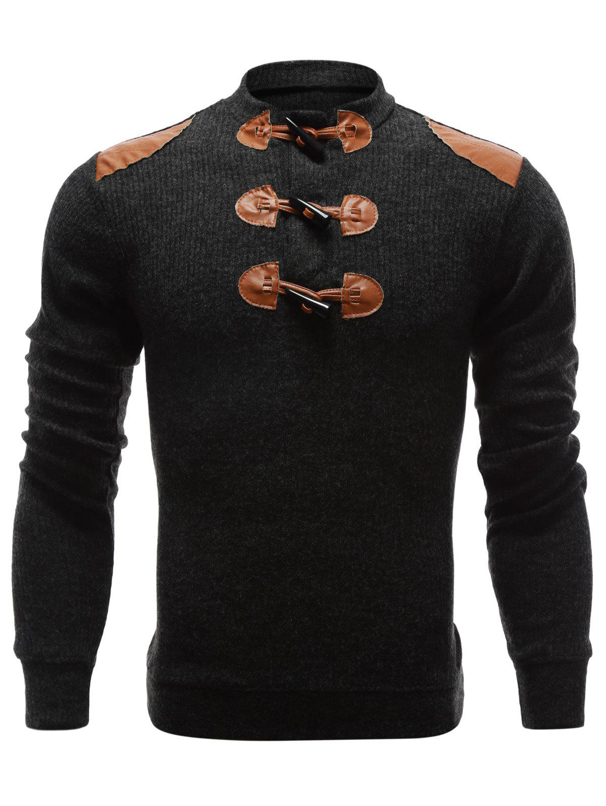 Ribbed Shoulder Patch Claw Button Sweater 192401909