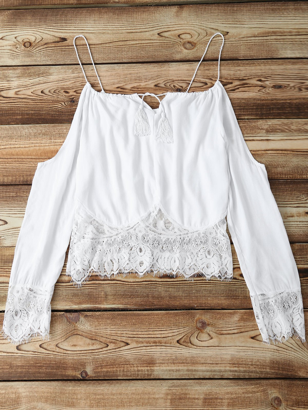 Shop Alluring Long Sleeve Combined Lace Women's White Crop Top