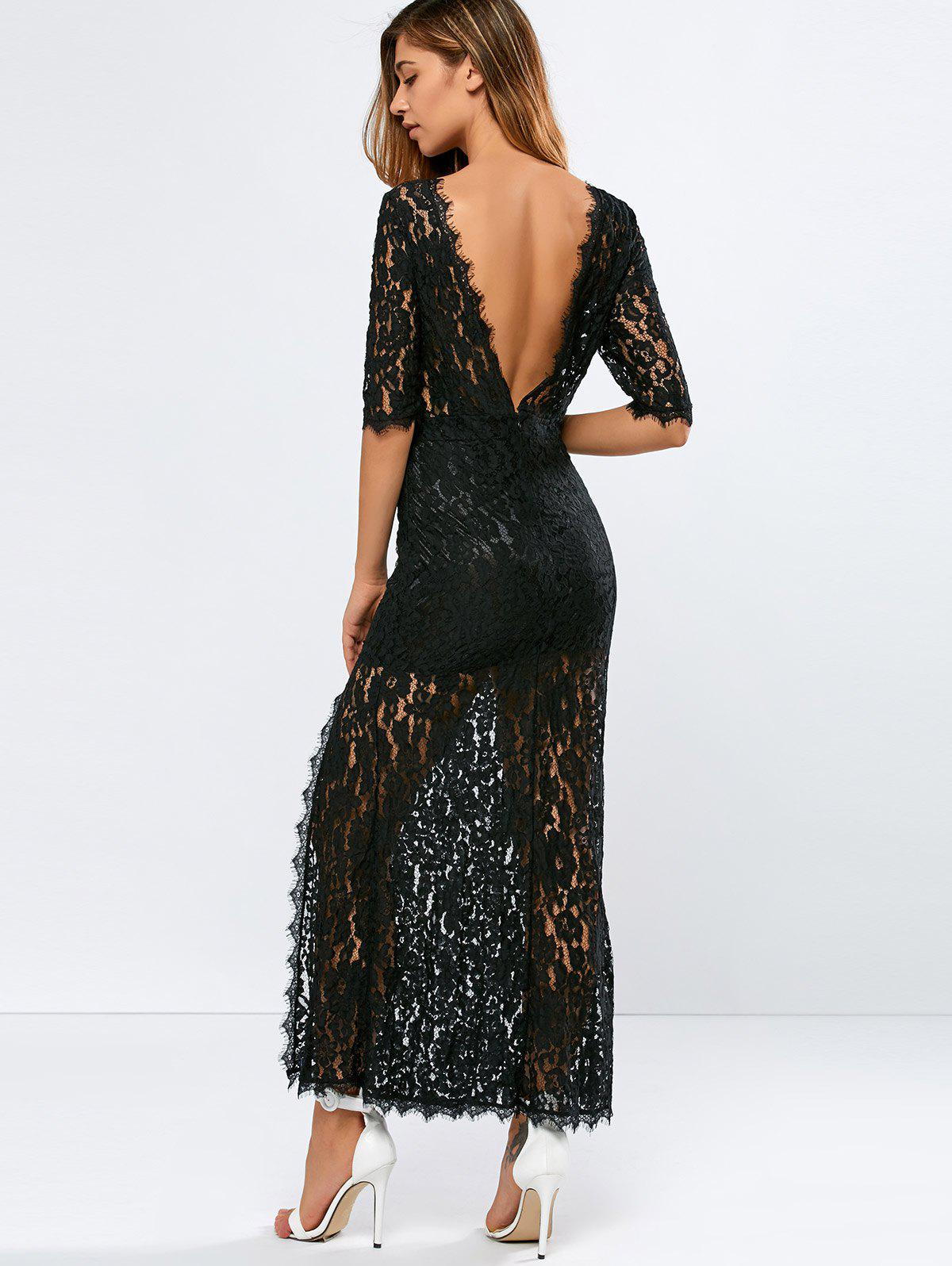 Fancy Lace Backless Slit Maxi See Through Evening Dress