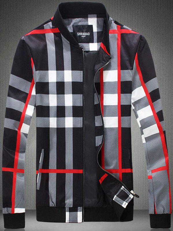 Outfits Color Block Checked Print Zip-Up Jacket
