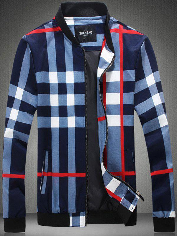 Color Block Vérifié Imprimer Zip-Up Jacket Bleu 3XL