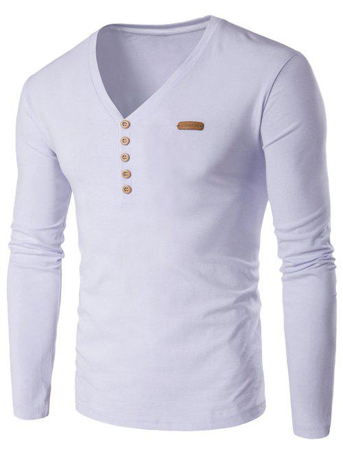 Latest V-Neck Patch Design Henley Shirt