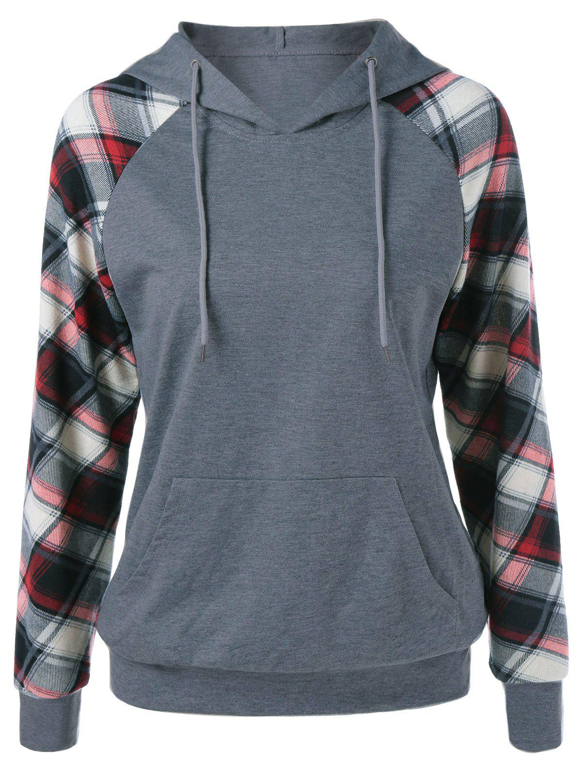 Plaid Trim Single Pocket HoodieWOMEN<br><br>Size: M; Color: GRAY; Material: Polyester; Shirt Length: Regular; Sleeve Length: Full; Style: Casual; Pattern Style: Plaid; Season: Fall,Spring; Weight: 0.4000kg; Package Contents: 1 x Hoodie;