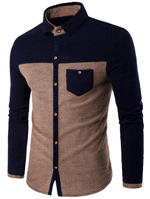 Corduroy Panel Two Tone Pocket ShirtMEN<br><br>Size: 3XL; Color: KHAKI; Shirts Type: Casual Shirts; Material: Cotton,Polyester; Sleeve Length: Full; Collar: Turn-down Collar; Weight: 0.3600kg; Package Contents: 1 x Shirt;