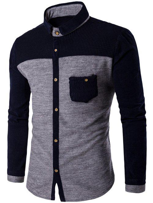 Fancy Corduroy Panel Two Tone Pocket Shirt