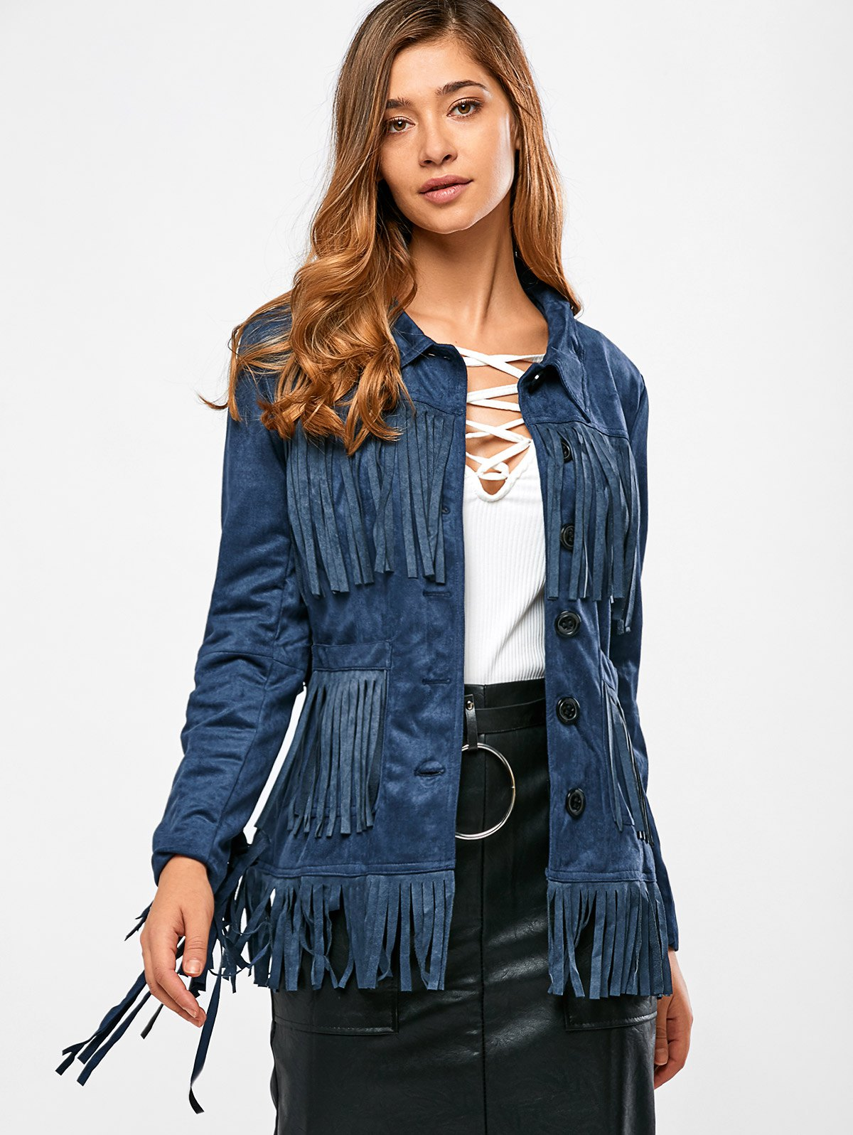 Outfits Fringe Faux Suede Jacket