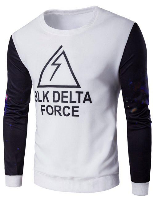 Galaxy Sleeve Letter Printed SweatshirtMEN<br><br>Size: XL; Color: WHITE; Material: Cotton,Polyester; Shirt Length: Regular; Sleeve Length: Full; Style: Casual; Weight: 0.3560kg; Package Contents: 1 x Sweatshirt;