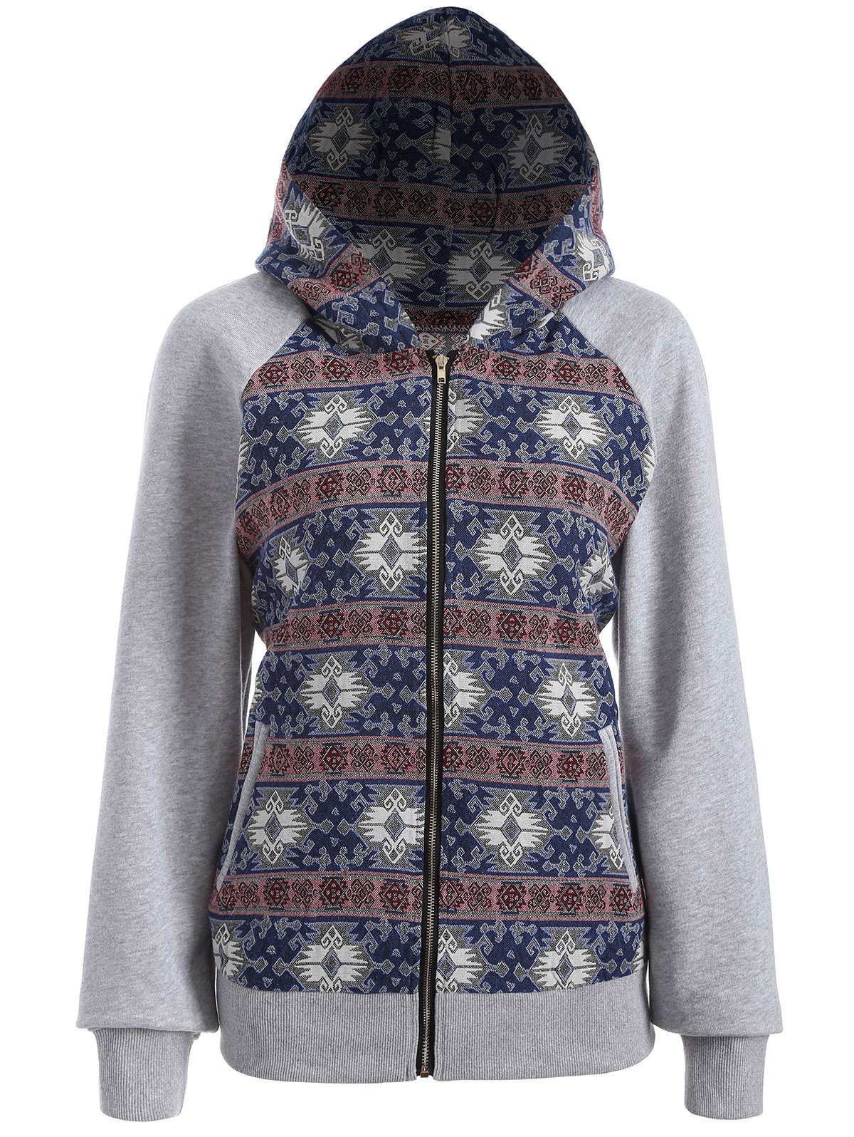 Outfit Zip Through Tribal Thin Cotton Zip Up Hoodie