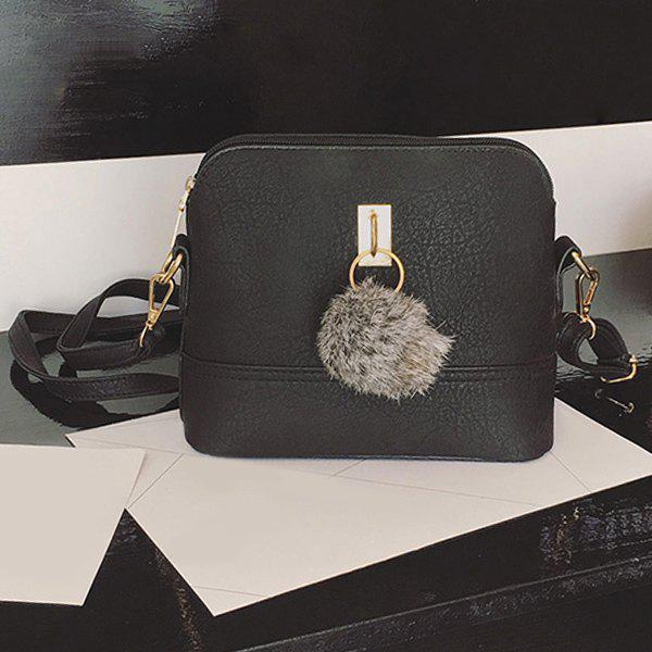 Faux Leather Pom Pom Crossbody BagSHOES &amp; BAGS<br><br>Color: BLACK; Handbag Type: Shoulder bag; Style: Fashion; Gender: For Women; Pattern Type: Solid; Handbag Size: Small(20-30cm); Closure Type: Zipper; Occasion: Versatile; Main Material: PU; With Pendant: No; Size(CM)(L*W*H): 22*9*18; Strap Length: 120CM (Adjustable); Weight: 0.3060kg; Package Contents: 1 x Crossbody Bag;