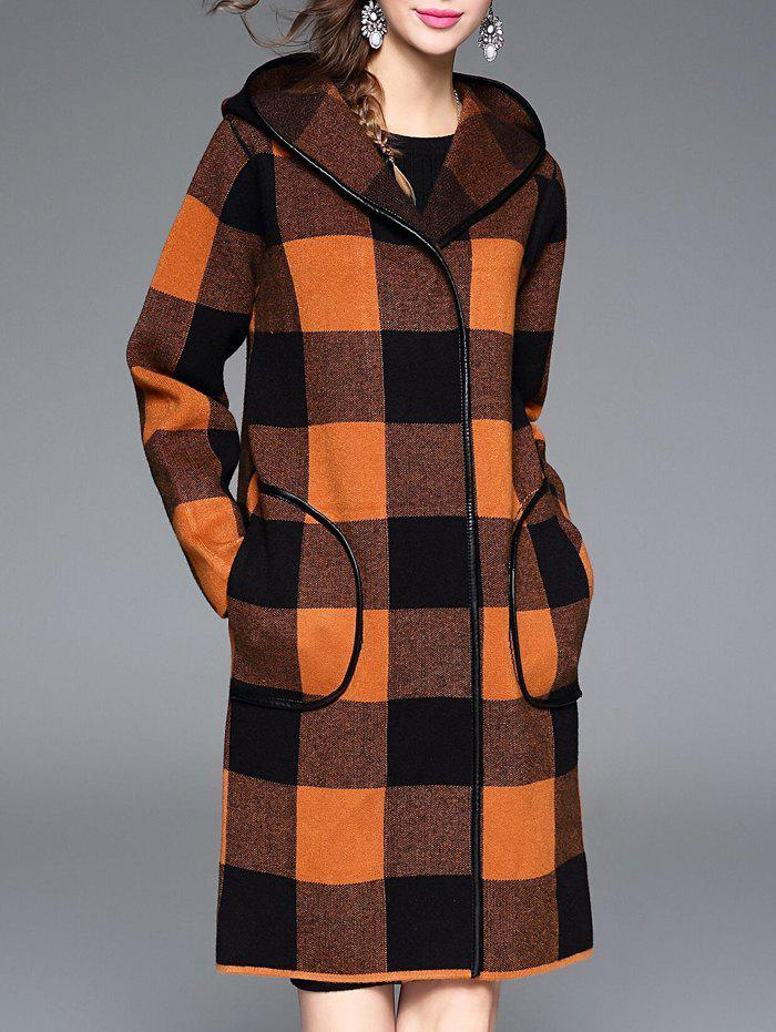 Buy Checked Hooded Cashmere Coat
