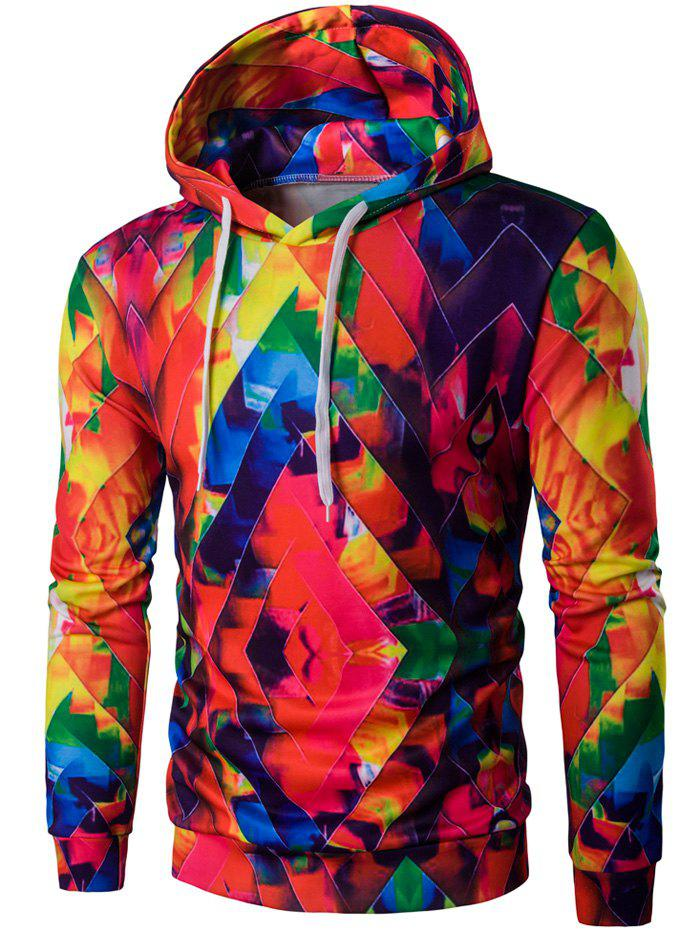 Abstract Print Colormix Pullover Hoodie - Colorful L