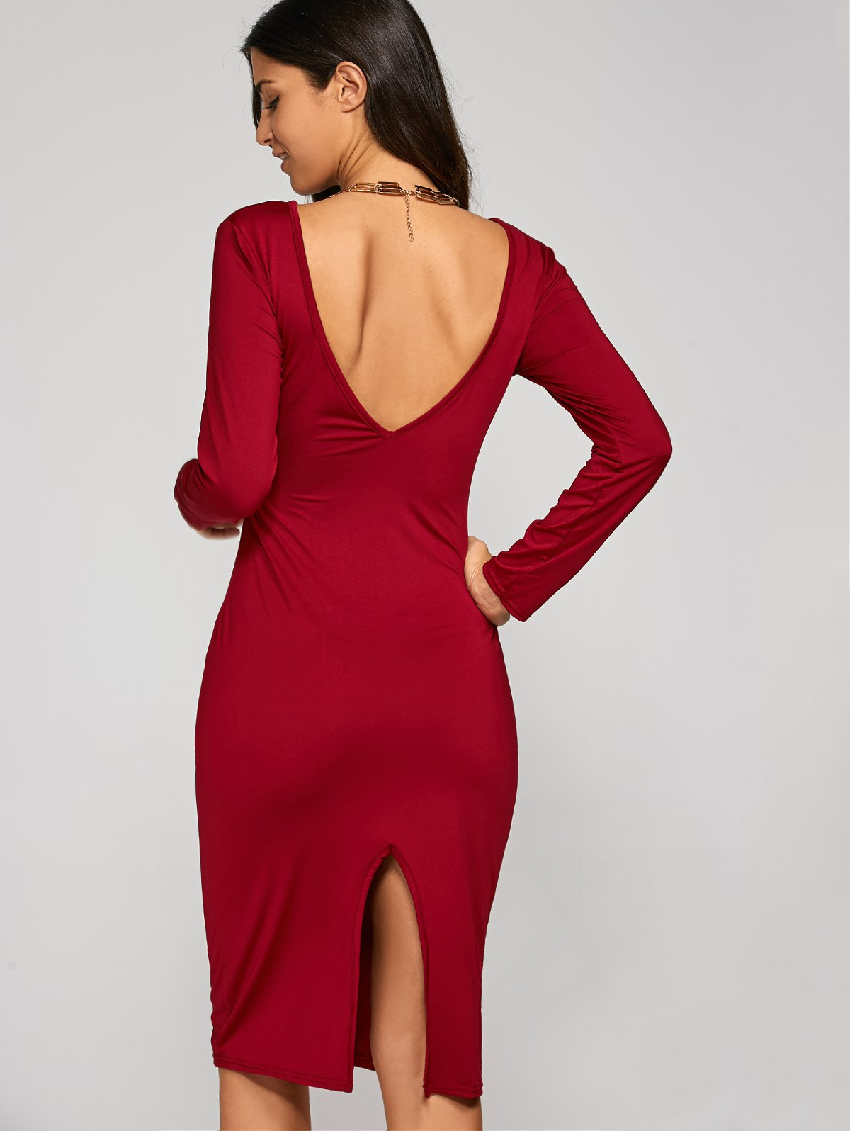 Chic Long Sleeve Backless Slit Pencil Cocktail Dress