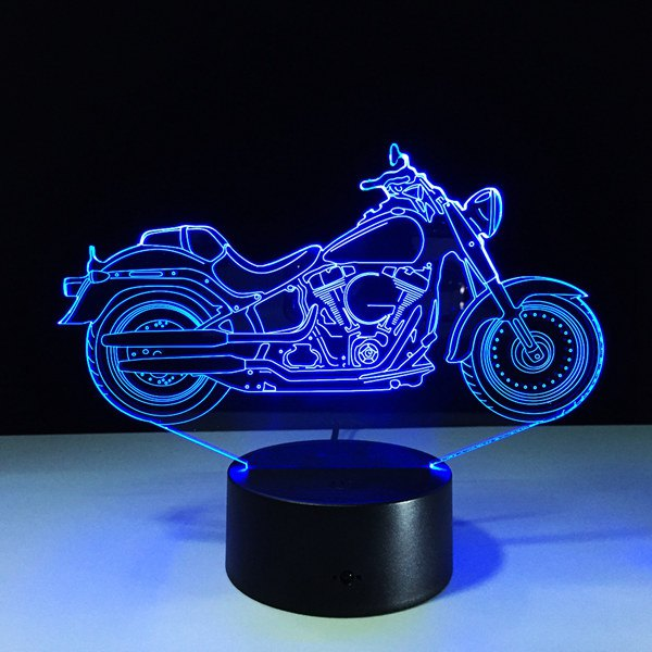 Image of USB 3D Motorcycle Shape Touch Colorful Night Light