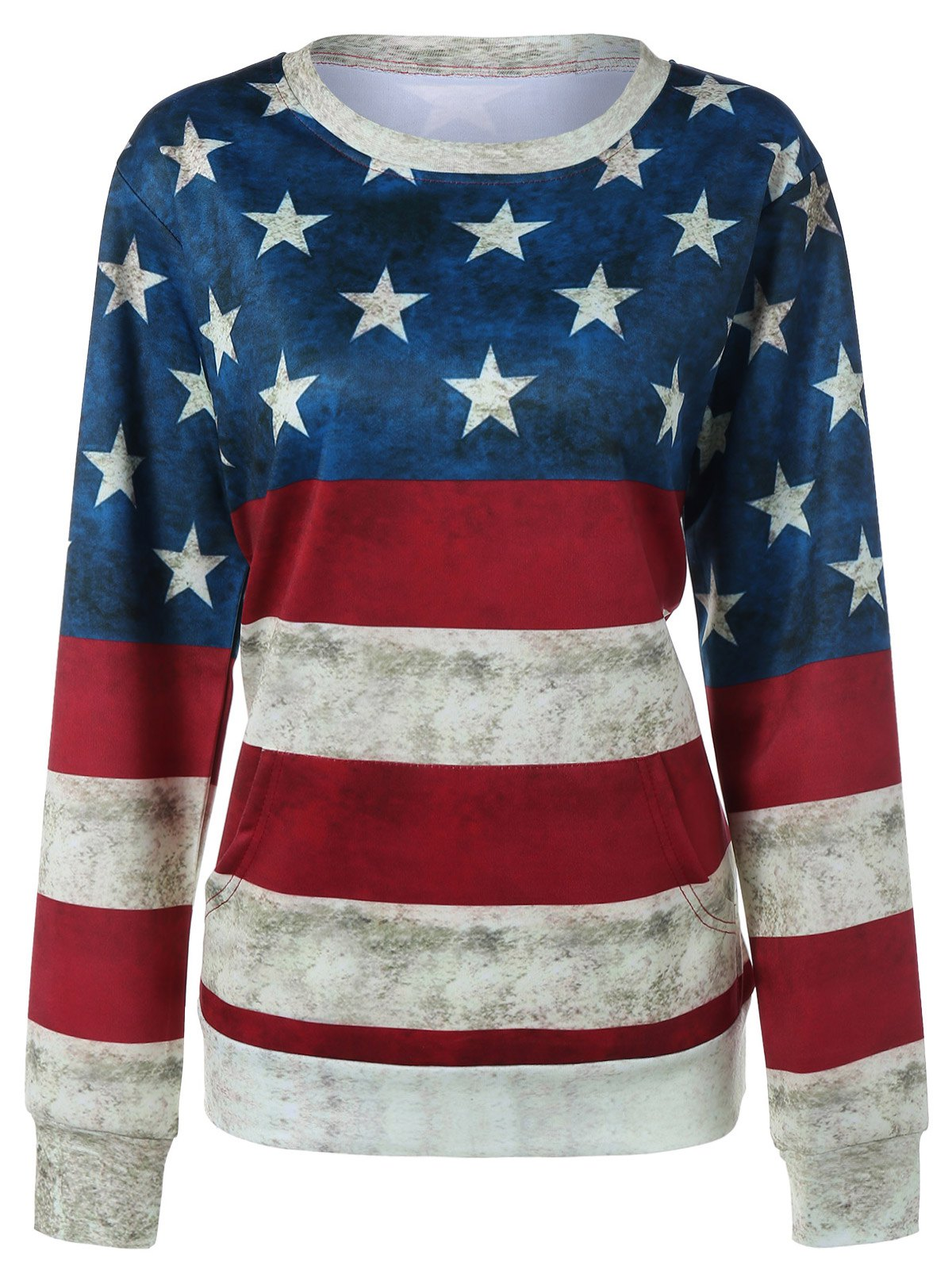 Outfit Contrast Star Print Striped Sweatshirt
