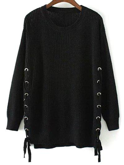 Trendy Side Lace Up Open Knit Sweater