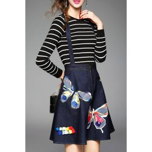 Butterfly Embroidered Suspender Dress and Striped Knitwear -