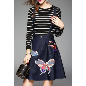 Butterfly Embroidered Suspender Dress and Striped Knitwear