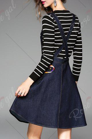 Online Butterfly Embroidered Suspender Dress and Striped Knitwear - M DEEP BLUE Mobile