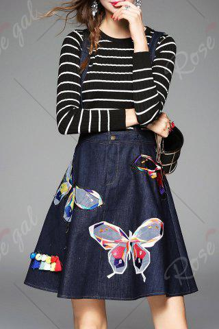 Latest Butterfly Embroidered Suspender Dress and Striped Knitwear - M DEEP BLUE Mobile