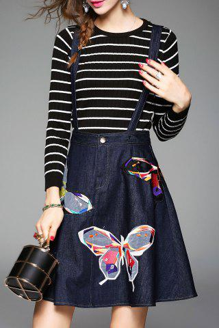 Sale Butterfly Embroidered Suspender Dress and Striped Knitwear - M DEEP BLUE Mobile