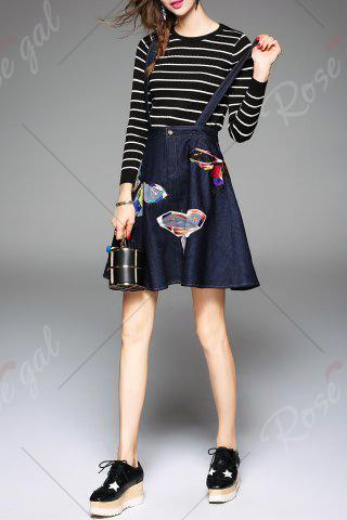 New Butterfly Embroidered Suspender Dress and Striped Knitwear - M DEEP BLUE Mobile