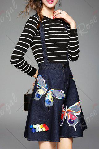 Affordable Butterfly Embroidered Suspender Dress and Striped Knitwear - M DEEP BLUE Mobile