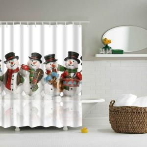 Bath Waterproof Polyester Christmas Snowman Shower Curtain - Colormix - S