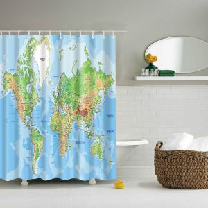 World Map Printed Waterproof Polyester Bathroom Shower Curtain - Lake Blue - L