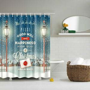 Wholesale Waterproof Polyester Christmas Bathroom Shower Curtain
