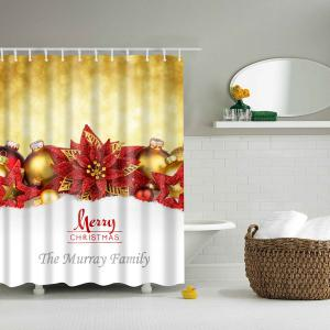 Waterproof Polyester Merry Christmas Bathroom Shower Curtain
