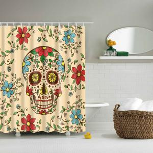 Bath Decor Floral Skull Printed Waterproof Polyester Shower Curtain - Colormix - L