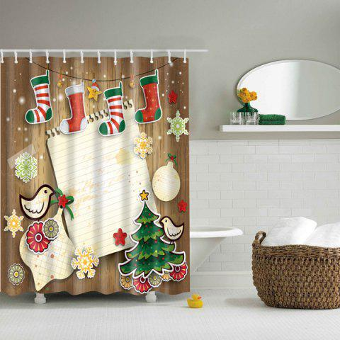 3D Merry Christmas Design Waterproof Salle de bain Rideau de douche Coloré L