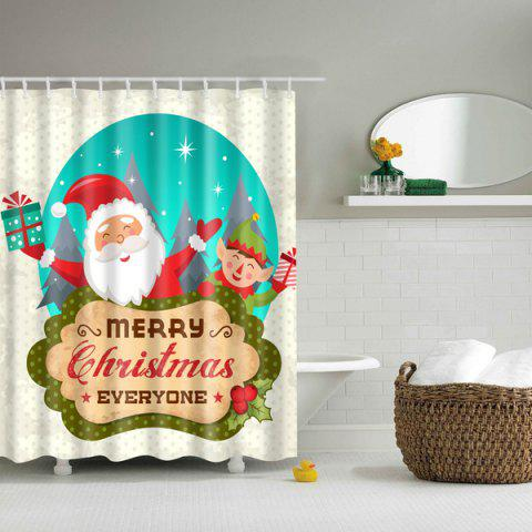 Affordable Merry Christmas Santa Printed Waterproof Bathroom Shower Curtain - S COLORFUL Mobile