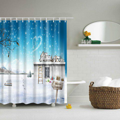 Store Winter Snow Scenery Printed Waterproof Polyester Shower Curtain - M BLUE AND WHITE Mobile